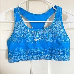 """Nike blue """"just do it"""" sports bra L"""